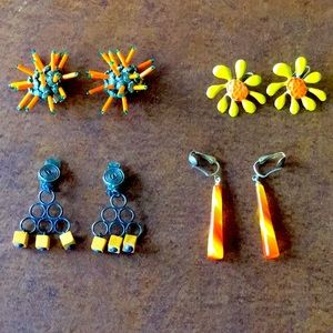 Vintage Clip-on Earrings in Orange Colours with Fun and Funky Designs